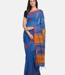 Blue plain silk cotton saree with blouse