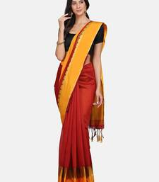 Red plain silk cotton saree with blouse