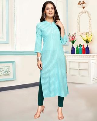 Sky-blue printed cotton ethnic-kurtis