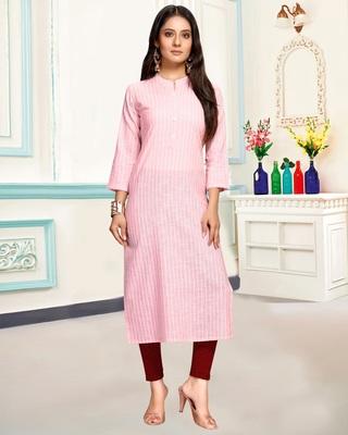Baby-pink printed cotton ethnic-kurtis