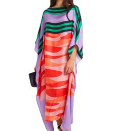 JSDC Women's Lounge Wear Calf Length Printed Softy Silk Kaftan