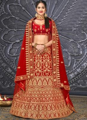 Red thread embroidery velvet semi stitched lehenga