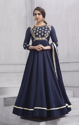 Navy-blue embroidered taffeta salwar
