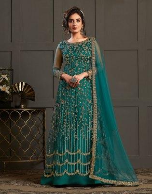 Blue resham embroidery net salwar