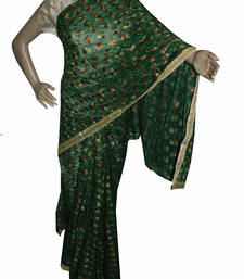 Buy Green embroidered chiffon saree with out blouse phulkari-saree online