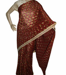 Buy Maroon embroidered chiffon saree with out blouse phulkari-saree online