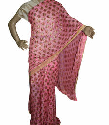 Buy Pink embroidered chiffon saree with out blouse phulkari-saree online