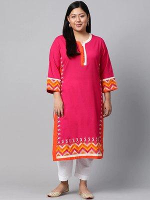 Pink embroidered cotton long-kurtis