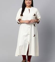 Off-white embroidered cotton long-kurtis