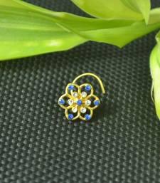 Designer Blue cubic zirconia nose ring or nose pin