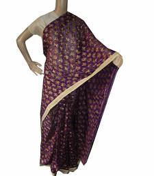 Buy Purple embroidered chiffon saree with out blouse phulkari-saree online