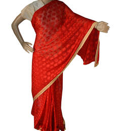 Buy Red embroidered chiffon saree with out blouse phulkari-saree online