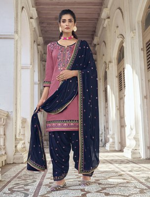 Pink resham embroidery silk blend salwar