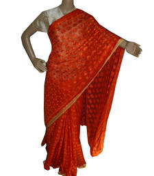 Buy Orange embroidered chiffon saree with out blouse phulkari-saree online