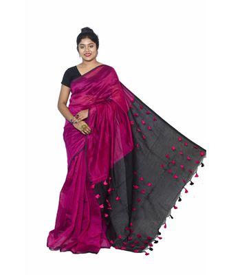 multicolor Cotton Silk designer_pallu Pompom Saree WithBlouse Pieces.