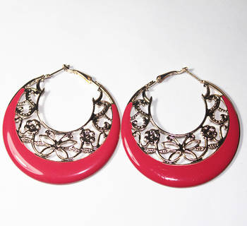 Red gold hoop earrings