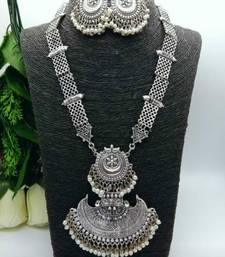 oxidized Antique Silver-Tone Divine Temple Traditional Jewellery Necklace  Set For Women & Girrls With Earring