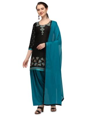 black New patiala dress Salwar Suit Material.