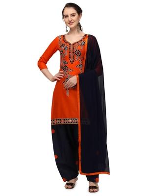 orange New patiala dress Salwar Suit Material.