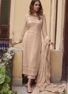 Cream Georgette Pakistani Salwar Kameez