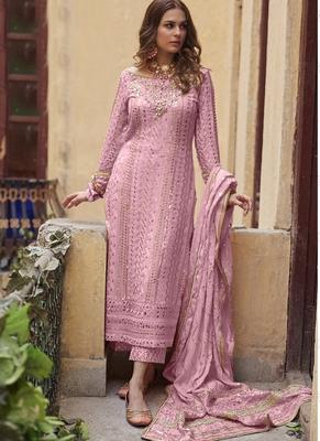 Pink Georgette Pakistani Salwar Kameez