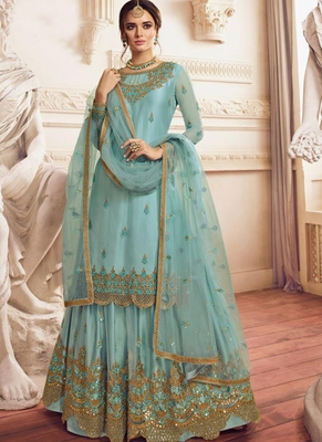 Sky Blue Net Pakistani Salwar Kameez