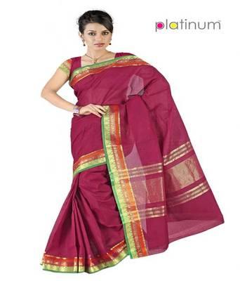 Platinum Latest Ethnic Pure Cotton Bridal Formal Wear Saree Sari PS102