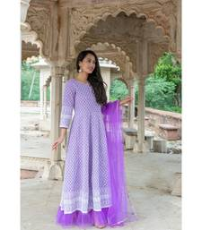 chikenkari work gown in cotton cambric fabric along with net dupatta with bijiya work