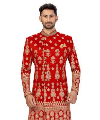 Red Art Silk Zari Embroidery Classic Sherwani