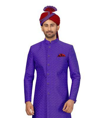Purple Art Silk Embroidery Classic Sherwani