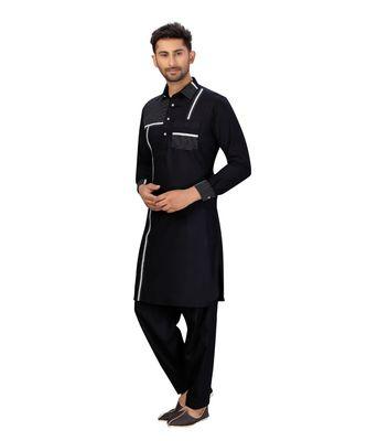 Black Cotton with Polyester Pattern Pathani Set