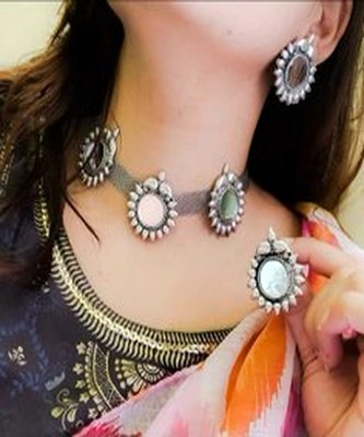 Fashion Traditional   Oxidized  Silver Plated Arabian Style Glass  Choker Necklace  With earrings For Women & Girls