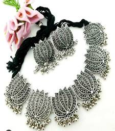 Fashion Traditional   Oxidized  Silver Plated Arabian Style Choker Necklace  With earrings For Women & Girls