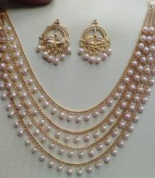 Amazing Gold Plated Wedding Jewellery  Layered Chain With Pearls Necklace  Set With Matching Earrings For Women & Girls