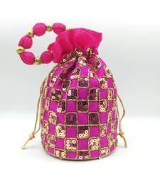 Core Classiques Pink Sequins Work Potli Bag