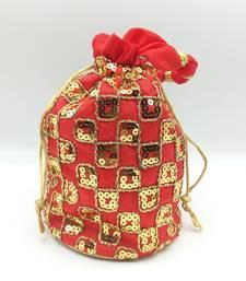 Core Classiques Sequins Work Red Potli Bag