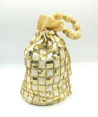 Core Classiques Sequins Work Gold Potli Bag