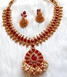 Charming Necklace  Set pearls & Red Stones  Gold Plated With Matching Earrings For Women