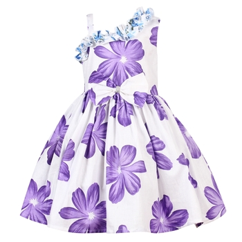 Purple printed cotton knitted kids-frocks