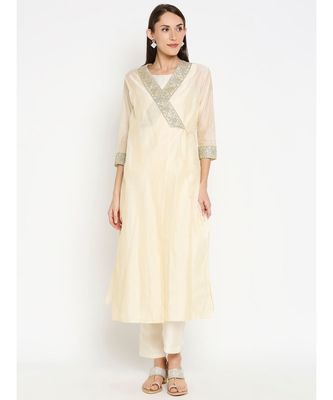 Desi Weavess Off White Angrakha with sleevless kurta and Trouser