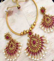 Temple Jewellery Pink Stones Gold Plated Bollywood Style  Neckalce Set For Women  & Girls