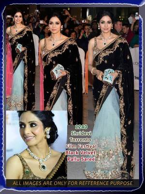 Black velvet saree
