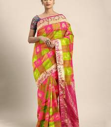 Multicolor hand woven kanchipuram silk saree with blouse
