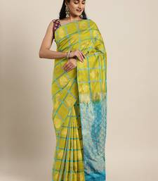 Green hand woven kanchipuram silk saree with blouse