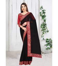 black plain georgette mirror work saree with blouse