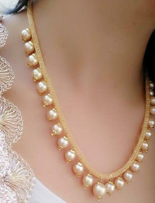 Classic Gold Plated Layered Chain With Pearls Necklace  Set With Matching Earrings For women & Girls