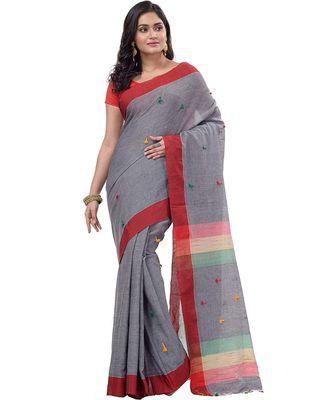 DipDiya Women's Handloom Cotton Saree With Blouse Piece