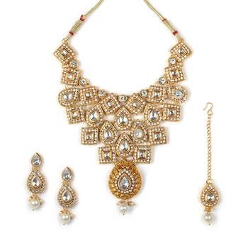 Necklace  Blue Colour Set Haar  Gold Plated Indian Jewelry With Earrings Long  Bollywood Beaded For women & Girls