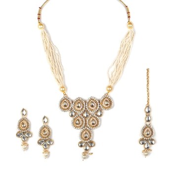 Necklace  Blue Colour Set Haar  Gold Plated Indian Jewelry With Earrings Bollywood Beaded For women & Girls