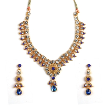 Crystal Shine Multistrand Black Beads Ethnic Kundan Necklace  & Earring Set For Women